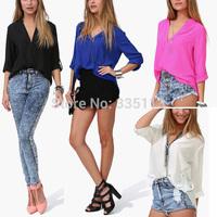 5 Sizes Brand New 2014 Women Ladies Summer Foldable Long Sleeve V Neck Shirt Loose Chiffon Blouse 4 Color