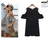 Summer Dress Woman Clothes Butterfly Sleeve Cotton Cute Strapless Dress Plus Size T Shirt Dresses W3364