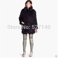 2014 winter long and loose faux fur coat sheep hair texture man made fur coat