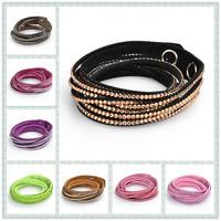 2014 New fashion luxury handmade bracelet with bling rhinestone wrap bracelets bangles for women 6 Layer long Leather Bracelet