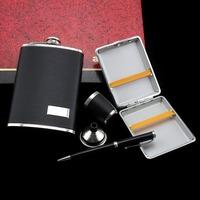 Personalized 9oz black leather 5 Pieces sets (including cigarette pen funnel glass)