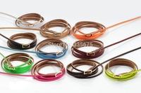 New punk fashion metal clasp pu leather bracelets bangle 5 wrap 108cm long bracelet for women men jewelry 10pcs Free Shipping