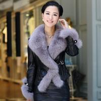 2013 genuine leather clothing down coat female short slim design sheepskin fox fur coat