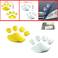 car styling bear footprint car Sticker 3D bear print Car Body Sticker Racing Decal Metal Stylish Style