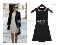 2104 new summer European style round neck sleeveless dress beaded Slim was thin dress size S-2XL
