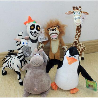 25CM 1 Piece New Arrival Madagascar 3 Movies Plush Toys High Quality Long Neck Giraffe Lion Zebra etc Factory Price P040(China (Mainland))