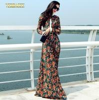 2014 brand fashion long dress stand collar floral lace maxi dress plus size women's vintage print full length dress S-XXL