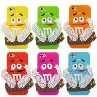 Amazing Cartoon Silicone Cute Boy's M&M Case for Apple iPhone 4 4S 5 5S Back Cover Capa Celular