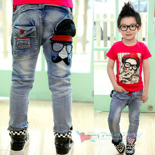 Retail baby kids cartoons jeans fashion children cotton jeans boys Lovely mustache simple jean spring casual baby Denim trousers(China (Mainland))