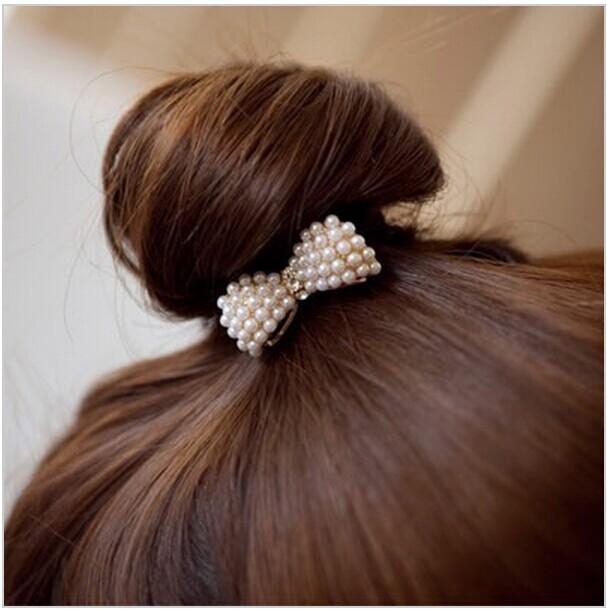 Free Shipping, New Sweet White Pearl Rhinestone Small Bow Knot Girls Woman Hairbands JWD03(China (Mainland))