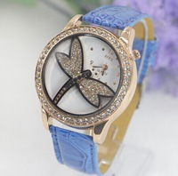 New 2014  Women dragonfly rhinestone Watches Luxury Fashion casual watch Dress Quartz Watch Young Hour Woman wristwatch Gift