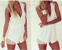 Sexy Short Rompers Womens Jumpsuit New 2014 Fashion Brand  Bodysuit DEEP v neck white lace Overalls