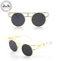 Gothic retro round sunglasses personalized glasses Bright Reflective punk Vintage Fashion Summer Cool Women Men Brand Designer