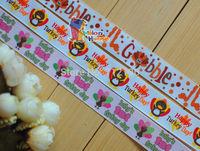 "20 Yards Wholesale 7/8""(22mm) Thanksgiving Turkey Bobble Printed Grosgrain Ribbon Hair Bow Craft Scrapbook"