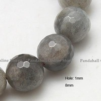 Natural Labradorite Beads Strands, Faceted, Round, Gray, 8mm, Hole: 1mm