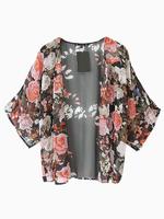 Vintage Black Chiffon Floral Loose Kimono Cardigan Jacket Blouse Cape Coat Casual Tops S M L 2014 Summer Autumn New