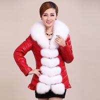 Female fox fur sheepskin outerwear genuine leather medium-long down coat leather clothing piyi