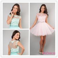 2014 New Arrival A-line High Collar Cap Sleeves Short Mini Aqua Pink Appliques Organza Homecoming Dresses Cocktail Dresses