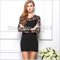 Ladies Korean Sexy Cotton Casual Lace Dress Long Sleeve Mini Dress Summer Autumn Free Shipping  59