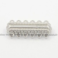 Alloy Magnetic Clasps, with 12 Holes, Rectangle, Platinum, 33x14x7mm, Hole: 2mm
