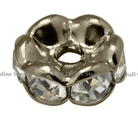 Brass Rhinestone Beads, Grade AAA, Wavy Edge, Nickel Free, Black Metal Color, Rondelle, Crystal, 4x2mm, Hole: 1mm