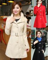 New Ladies Winter Coat Woolen Overcoat Slim Double Breasted Women Coat Winter Fashion 2014 S/M/L/XL sizes