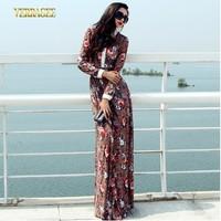 2014 New fashion long print lace dress women's plus size full sleeve floral maxi dress female vintage party dress full length