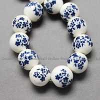 Handmade Printed Porcelain Beads, Round, PrussianBlue, 10mm, Hole: 3mm