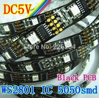 Free shipping 5m 32leds/m 32 IC WS2801 5050 RGB LED Strip Individual Addressable DC5V Black PCB non-waterproof