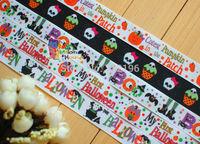 "50 Yards Wholesale 7/8""(22mm) Halloween Skull Spider Pumpkin Printed Grosgrain Ribbon Hair Bow Craft Scrapbook"