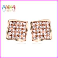 2014 Promotion Romantic Women Pendientes Brincos Brinco Cube Top Quality Swiss Cz Stud Earring Free Shipping #108337