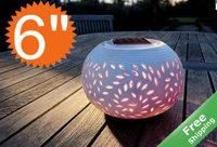 Solar ceramic light+100 % solar powered+Leave design+2leds+Free shipping