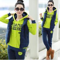 2014 New women clothing set long sleeve letter print casual hoodies suit female plus size thick fleece 3pcs sweatshirt set M~XXL