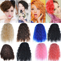 10pcs 10colors wavy cosplay Girl Woman's wavy colorful Clip on in Bang Fringe Neat Hair Extensions Accessories AP14
