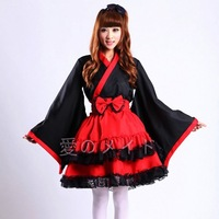 813Kimono furisode cosplay lolit maid animation show witch costumes  lace decoration