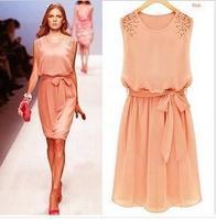 Women Dress Elegant  Manual Nail  Bead Chiffon Dress Sleeveless Pleated Design Vest  Dress With Sashes Party Evening Dress