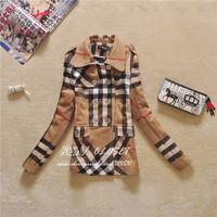 2014 winter new Women's woolen coat plaid Lady coats double breasted  women's outwear fashion plaid Jackets plus size XXXL