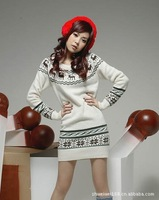 High-quality version of the 2014 spring and new Miss Han Ban sweater Christmas deer fawn sweater snowflake sweater Slim