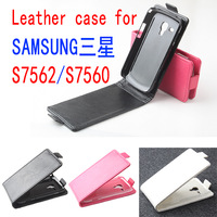 Luxury Leather Case For samsung galaxy trend duos s7562 s7560 Wallet  Flip Cover Phone Cases  Black White Rose Color