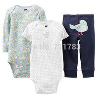 Wholesale New carter's baby girl print  3pcs  bodysuit with pants set,Carter's 3pcs  layette set,100%cotton, 5sets/lot
