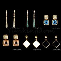 Fast Free shipping 10+2=12  Pcs Mix HOT Designs 18K Gold Filled Zirconia Personalized hot Fashion long earrings Jewelry  ZH0039