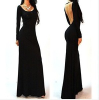 New Sexy Backless European Fashion Slim Elegant Long Sleeve Long Dress For Women New Arrival Hot Sale Brief Style Evening Dress