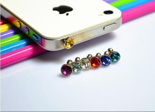 10pcs crystal diamond dustproof anti dust plug for 3.5 MM headphone earphone jack smart phone free shipping