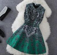 Women Autumn Beading Slim Dress Tank Flower Vintage Dress  S-XL Green Pink 100% same as picture Free Shipping
