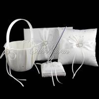 4Pcs/set  Wedding Decoration Bridal Satin Ring Pillow+Flower Basket+Guest Book+Pen Set Casamente Products Beige Wholesales