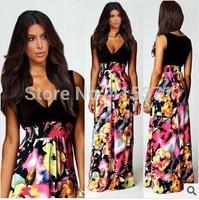 2014 New Arrival V Neck Sleeveless Bohemian Fashion European Style Print Long Dress In Summer Women's Hot Sale Causal Dress