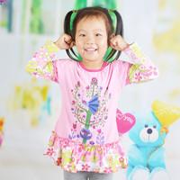 2-6Y Baby Girl Spring Autumn T-shirts Children Girl Long Sleeve Tshirts Kids Clothing Top Tees 1pc Free Shipping TNQ-1418
