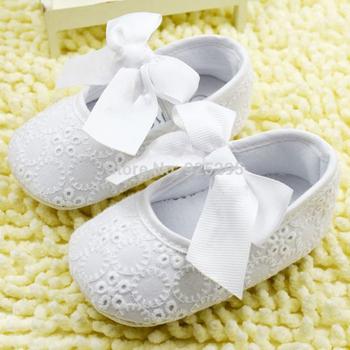 Db123123Белый бантом девочка кружево туфли малыша Prewalker анти-слип обуви просто ...