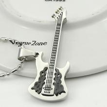 Sale Guitar Silver Stainless Steel Pendant Necklace retro korean indian jewelry tardis music prata skyrim fox pentagram BP1145