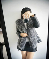 2014 Top Fasion Special Offer Free shipping Button Solid Design Female Fox Fur Vest Leather Outerwear Plus Size Women Coat